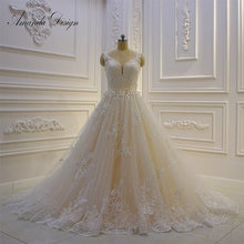 Amanda Design vestido de novia playa Cap Sleeve Lace Applique A-Line Wedding Dress 2019