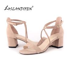 LOSLANDIFEN Fashion Women Velvet Sandals Stripe Ankle Buckle Office Pumps Thick High Heel Shoes Sweet Wedding Shoes 6050-1VE