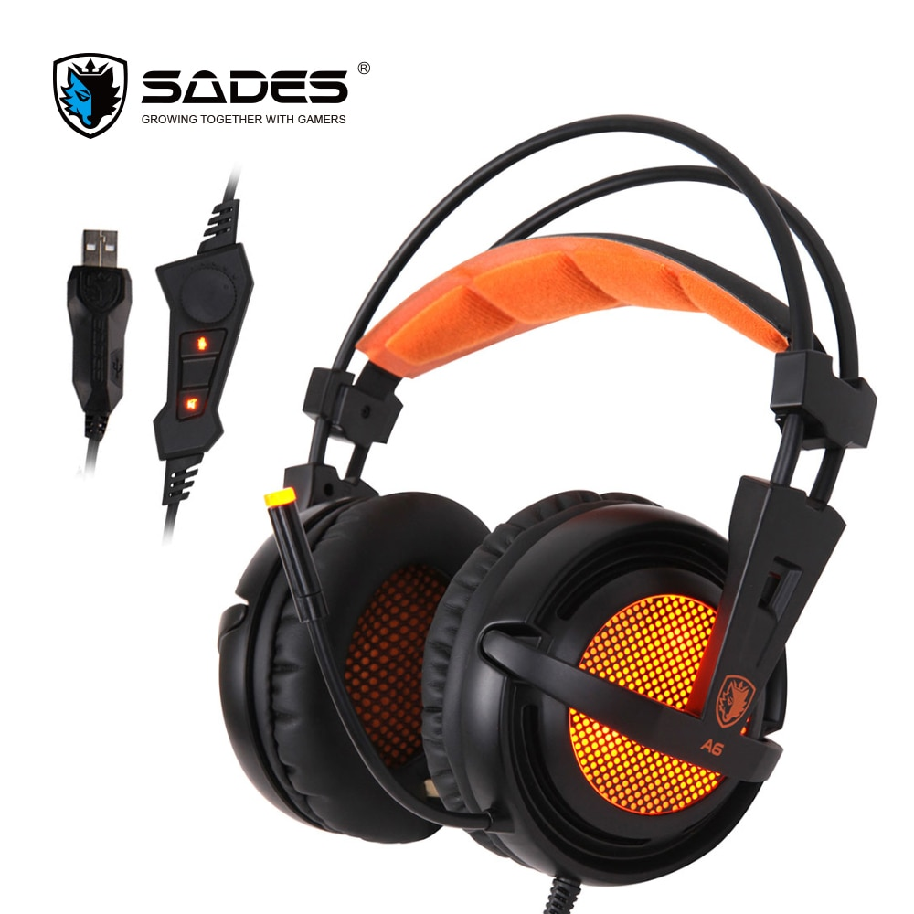 SADES A6 7,1 auriculares estéreo 2,2 m Cable USB auriculares con micrófono para juegos Control de voz para ordenador portátil
