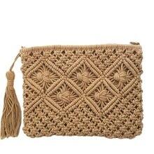 Bohemian Woven Tassel Hollow Out Beach Bag Women Crochet Fringed Straw Clutch Handmade Day Clutches Knitting Weave Boho W412
