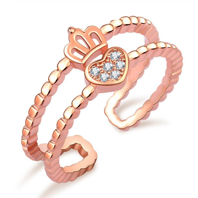 Design de amor requintado coroa mão coração claddagh anel duplo-deck sliver cor rosa ouro cor cz cristal anéis para mulher