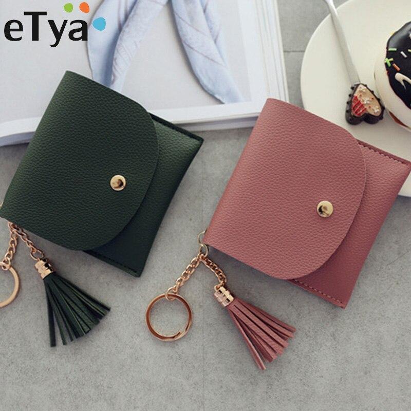 ETya Модный женский кошелек, короткие кожаные мини кошельки, женские повседневные ID Держатели для карточек сумки, Дамский кошелек для монет, розовый клатч, Сумка с кисточками