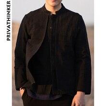 Sinicism Store hommes vêtements 2020 coton lin décontracté noir chemises homme à manches longues chemises mâle chinois faux deux pièces coupe-vent