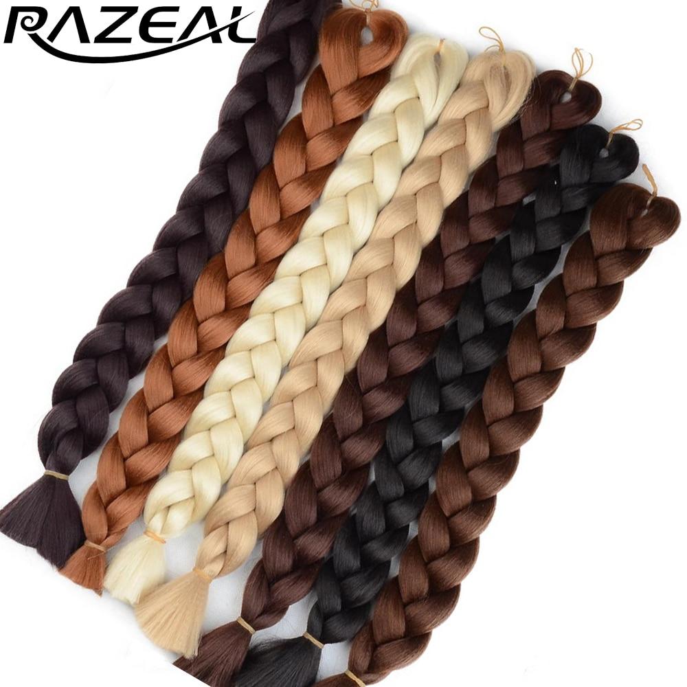Вязаные крючком косички Razeal, 2 шт., косички из синтетических волос, косички, длинные прямые волосы 36 дюймов для наращивания в канекалоне