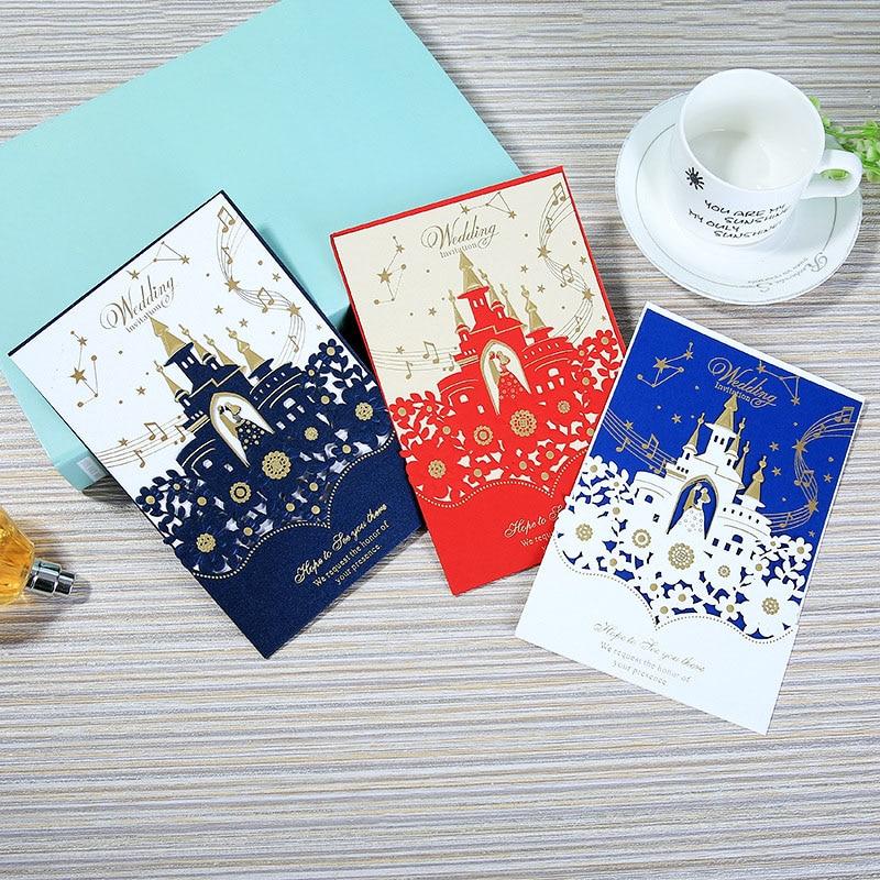 1 Uds muestra de Castillo cortado con láser tarjetas de invitación de boda estampado tarjeta felicitación negocios personalizar suministros para fiestas, bodas y cumpleaños