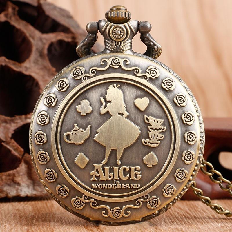 New Arrival Retro Alice in Wonderland Theme Bronze Quartz Pocket Watches Vintage Fob Watches Christmas Brithday Gift  relogio