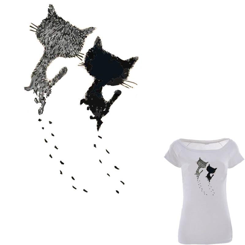 Parche para planchar con dos gatos lindos de 14*23,2 cm, pegatinas de transferencia para camisetas, vestidos y Navidad, parches lavables de nivel A
