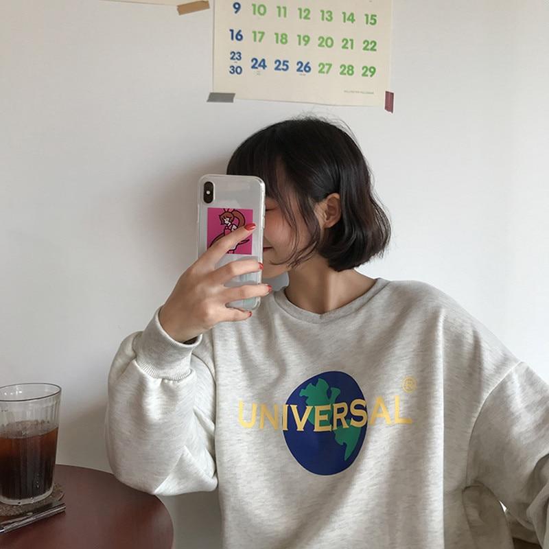 2 colores 2018 estilo de pijo Coreano estampado con letras y dibujo de manga larga sudaderas de mujer ropa de calle (F3568)