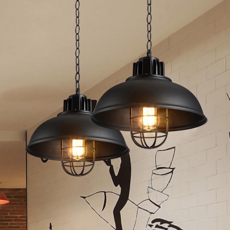Lámparas colgantes retro Industrial jaula lámpara de queroseno hanglampen Loft luz americana estilo metal lámpara accesorios lámpara de cocina