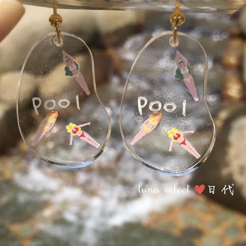 Summer Style White Swimming Pool Irregular Acrylic Drop Earrings Funny Gift Punk Bikini Girls Design Big Earring Party Jewelry