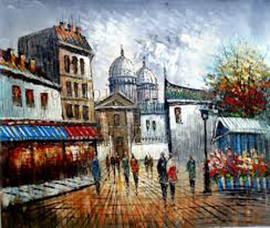 Moderna da Cidade de Paris Paisagem da Lona Pintura a Óleo Decoração da Parede Handmade Abstrata Torre Eiffel Arte Casa Pendurar Fotos Rua