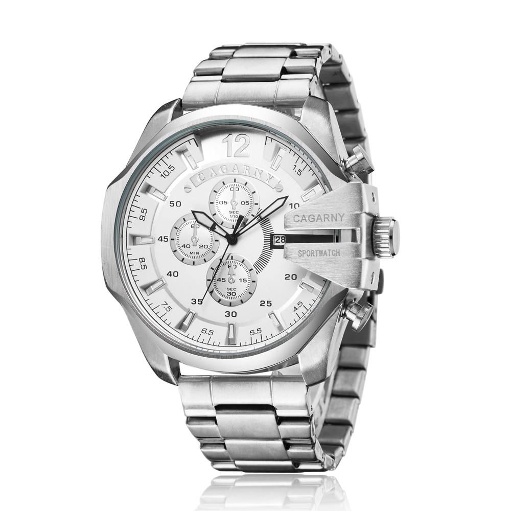Relojes Cagarny de lujo para hombre, relojes de cuarzo de acero plateado para hombre, relojes militares resistentes al agua para hombre