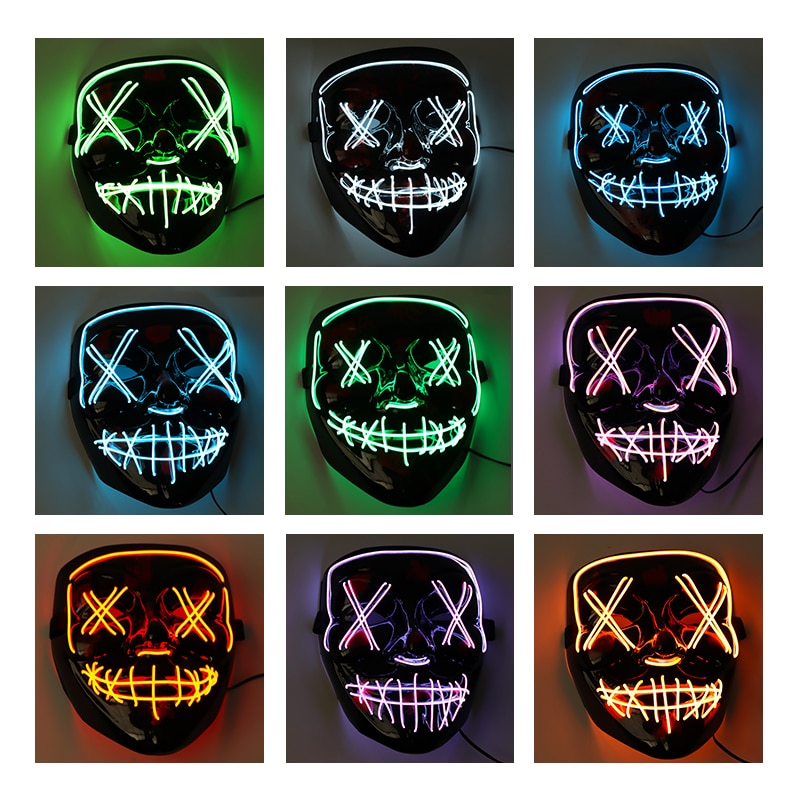 Máscara LED para fiesta de Halloween, máscara de maquillaje, máscara de graduación, luces de neón, máscara brillante de Horror oscuro