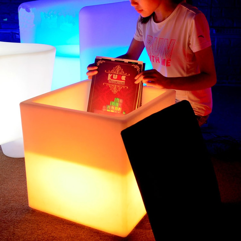 High quality waterproof Ice bucket combo night light Led 40x46cm wine cabinet cube with cushion KTV bar fixtures lamps chairs