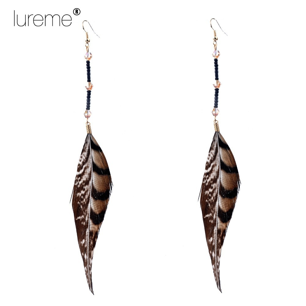 Lureme Indiana Style Crystal Beads Pheasant Feather drop Earrings for womens Fashion Elegant Jewelry 2015 New Design