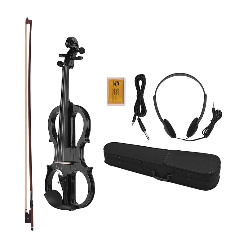 Hongyun violín eléctrico 4/4 tilo Brasil madera violín eléctrico adecuado con arco de colofonia funda de transporte blanco negro sets de violín