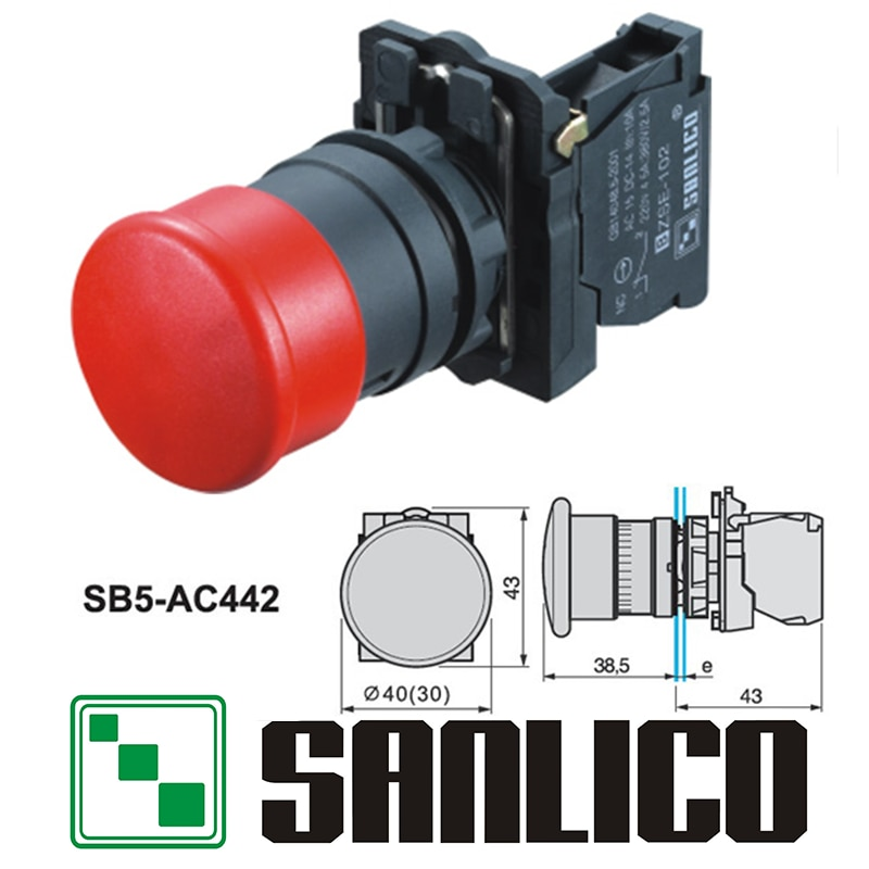 Interruptor de botón de emergencia impermeable SB5 (LA68S XB5)-AC442 momentáneo resorte de retorno