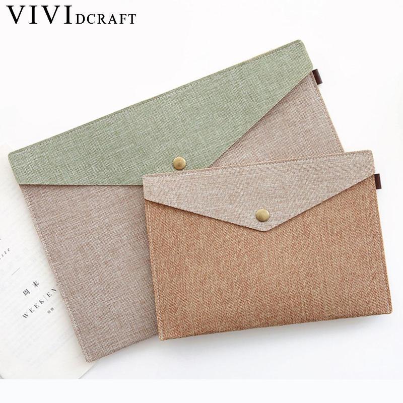 Vividcraft A4 A5 2 Imitation Linen Canvas Felt File Bag Portfolio Office Study Bag Stationery Folder Simple Elegant File Carpeta