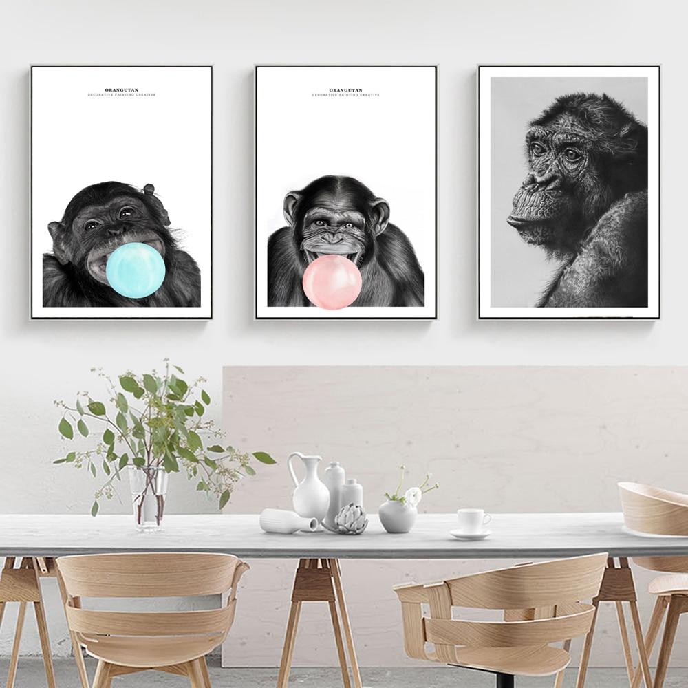 Animais de Parede Cartazes E Cópias dos Chimpanzés Com Cópias Da Lona Arte Da Parede Para Decoração do Quarto Crianças Macaco Balão Pinturas Da Arte Da Lona