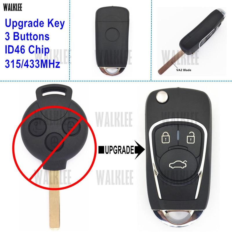 Walklee flip dobrável chave remota atualizado para mercedes-benz smart fortwo 451 315 mhz ou 433 mhz 2007-2015