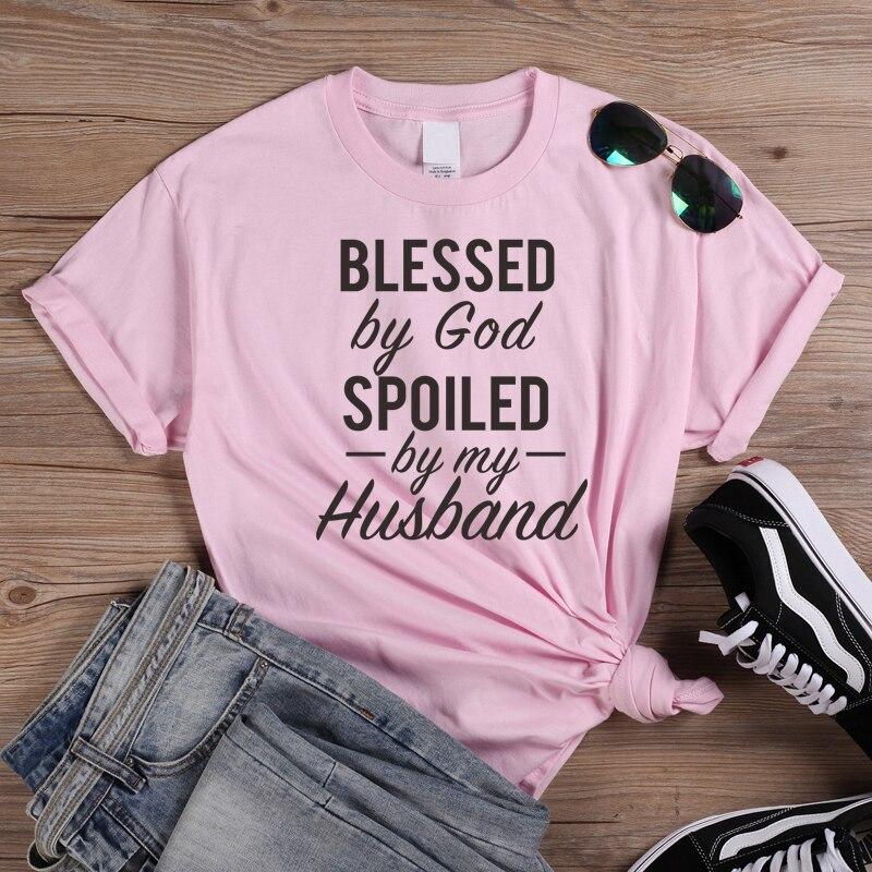 ONSEME, camisetas con letras con la palabra Blessed By God misted By My Husband, camisetas de algodón informales para mujer, Harajuku, blusas para mujer, playera cristiana