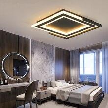 سقف ليد حديث الثريا مربع أسود أو أبيض غرفة المعيشة غرفة نوم غرفة الدراسة ديكو بساطتها Led الثريا تركيبات