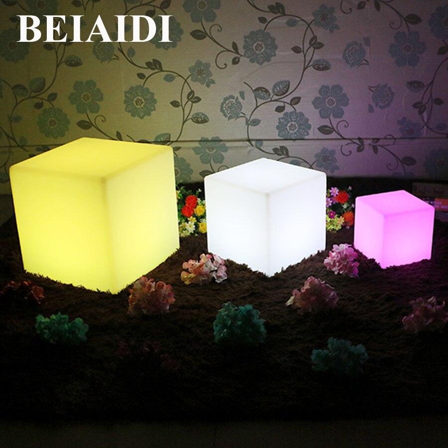 BEIAIDI 16 colores RGB LED recargable iluminado muebles lámpara cubo Led resistente al agua silla bar KTV Pub plástico Mesa iluminación