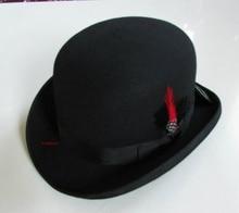 Neue 100% Wolle Hut Hohe Qualität Mode männer und frauen Schwarze Kappe Bowler Hüte Schwarz Wollfilz Derby bowler Hüte B-8134