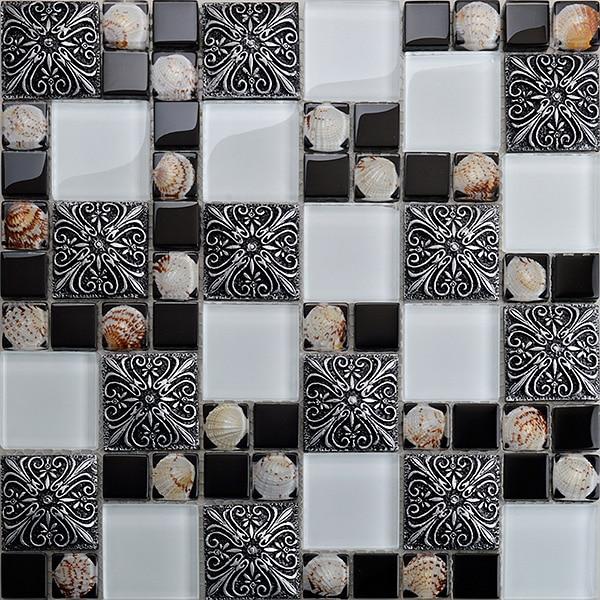 Azulejo de mosaico de concha de vidrio, pegatinas de pared a la moda vintage, rompecabezas, piscina, baño, papel pintado de cocina, azulejos de ducha con salpicaduras