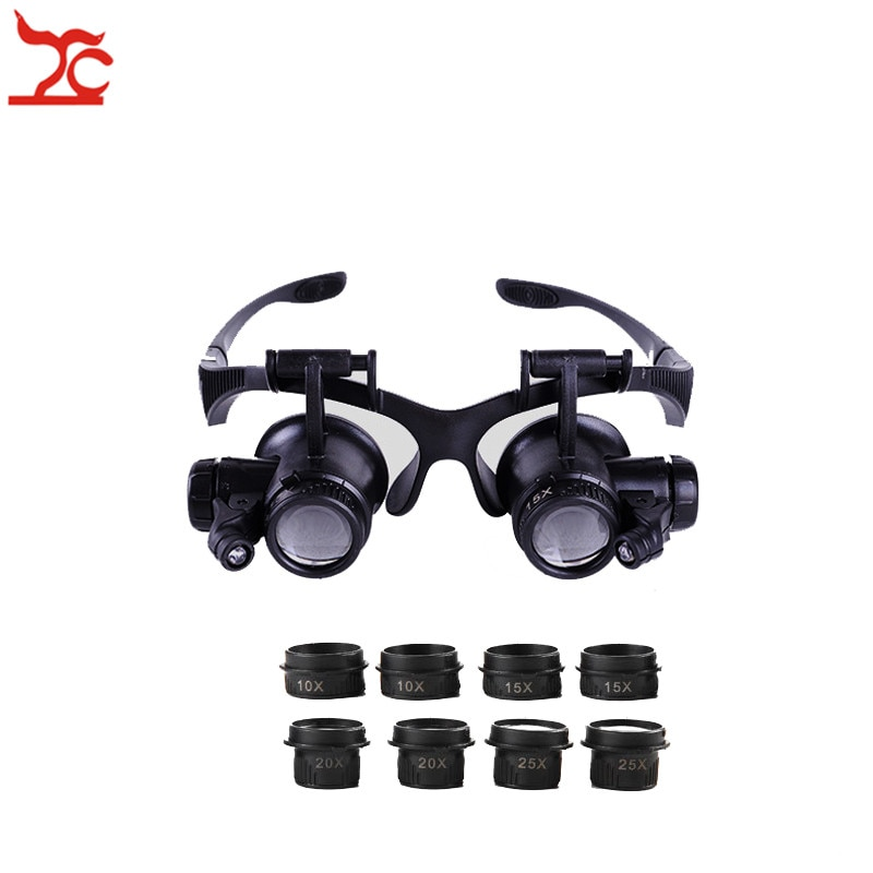 Professional Adjustable Repair Watch Safety Magnifier Double Eye Head Band Eyeglasses With 8 Lens LE