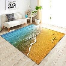 Strand Seestern 3D Gedruckt Startseite Bereich Teppich Kind Thema Zimmer Spiel Weiche Teppiche Kinder Gleitschutz spielen Matten Flanell Teppiche für wohnzimmer