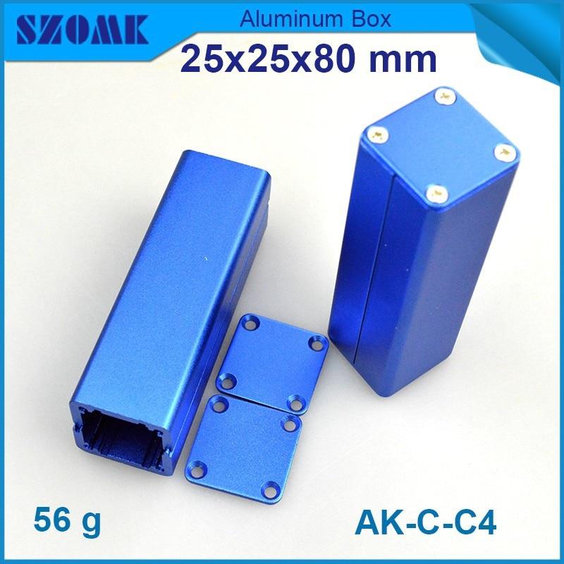 4 unids/lote caja de aluminio 20,8x20,8mm envío gratis en color azul oscuro electrónica diy pcb carcasa de aluminio