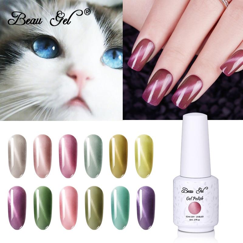 Beau Gel 3D Katze Auge Nagel Gel Polnisch Magnet Jade Wein Rote Katze Auge Hybrid Gel Lack Nägel Lack Semi permanent UV Gel Polnisch