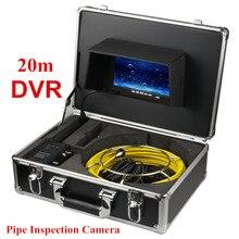 "Cámara impermeable de alcantarillado de 23MM, Cable de fibra de vidrio de 20M, Monitor de 7 "", sistema de cámara de inspección de tuberías con función DVR"
