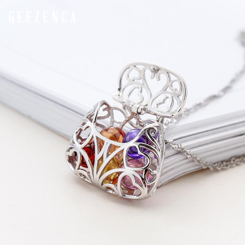 925 فضة اللون الاحجار الكريمة حقيبة يد على شكل المختنقون القلائد الجميلة مجوهرات الكورية العصرية قلادة للنساء الحفلات