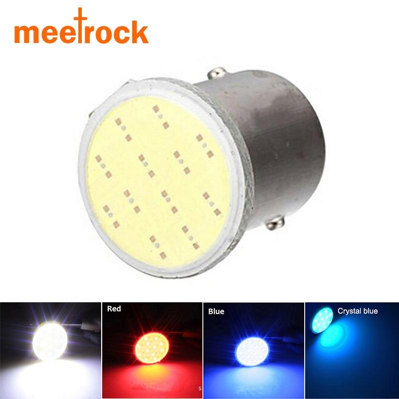 Meetrock, gran promoción, cob p21w led 1156 ba15s 12SMD, luz blanca para coche, luz blanca para motocicleta, luz indicadora de estacionamiento de cola automática, Bombilla de 12V