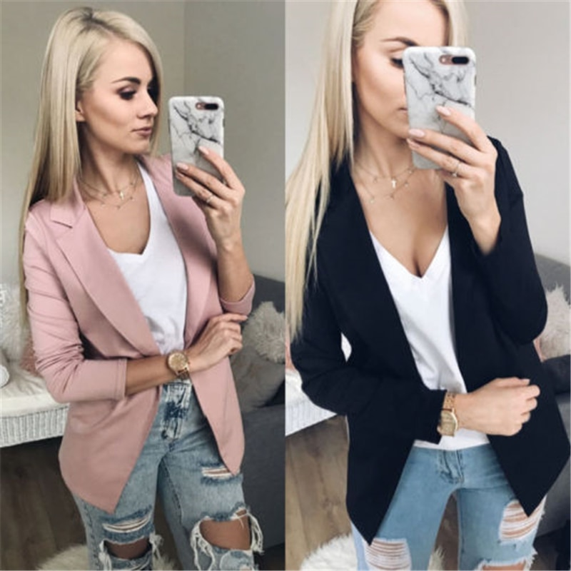 Blazers sólidos de moda de otoño para mujer, traje de trabajo de oficina para mujer, chaqueta ajustada de negocios sin botón en blanco y negro para mujer