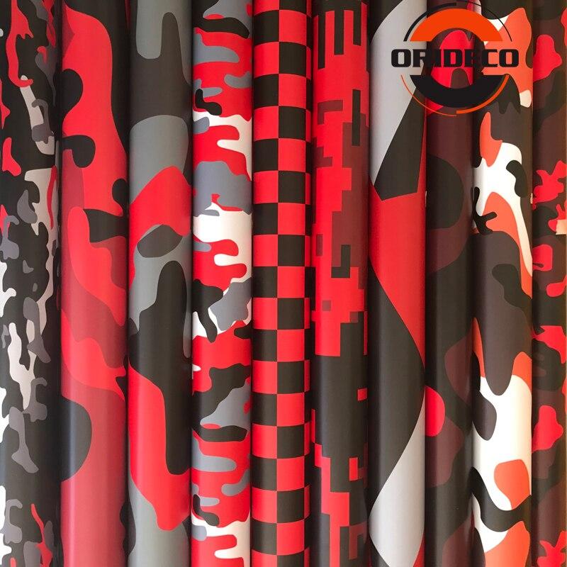 Heißer Verkauf 10/20/30/40/50cm * 152cm Rot Schwarz Camouflage Klebstoff PVC vinyl Film Auto Wrap Für Motorrad Lkw Auto DIY Aufkleber