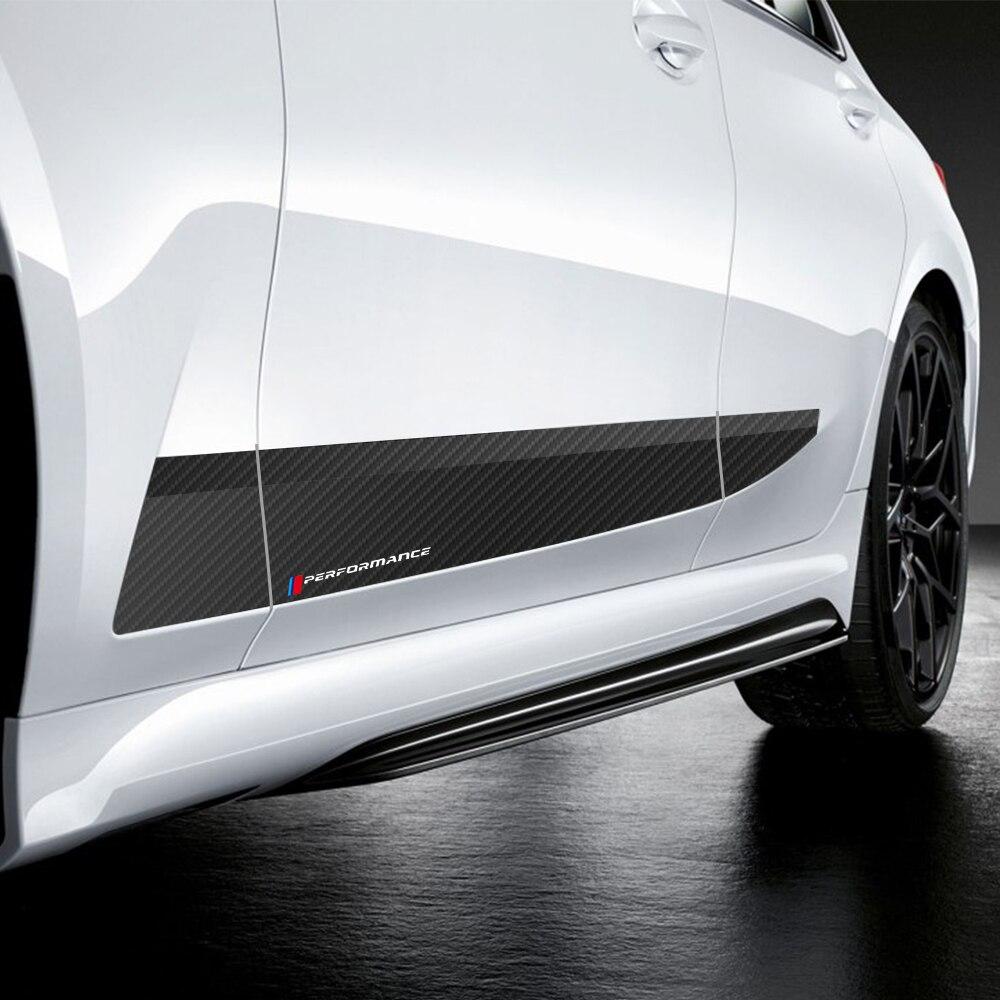 2 uds estilo de coche M Performance Side Stripe Skirt pegatina para umbral Calcomanía para BMW Serie 3 2019- G20 Accesorios