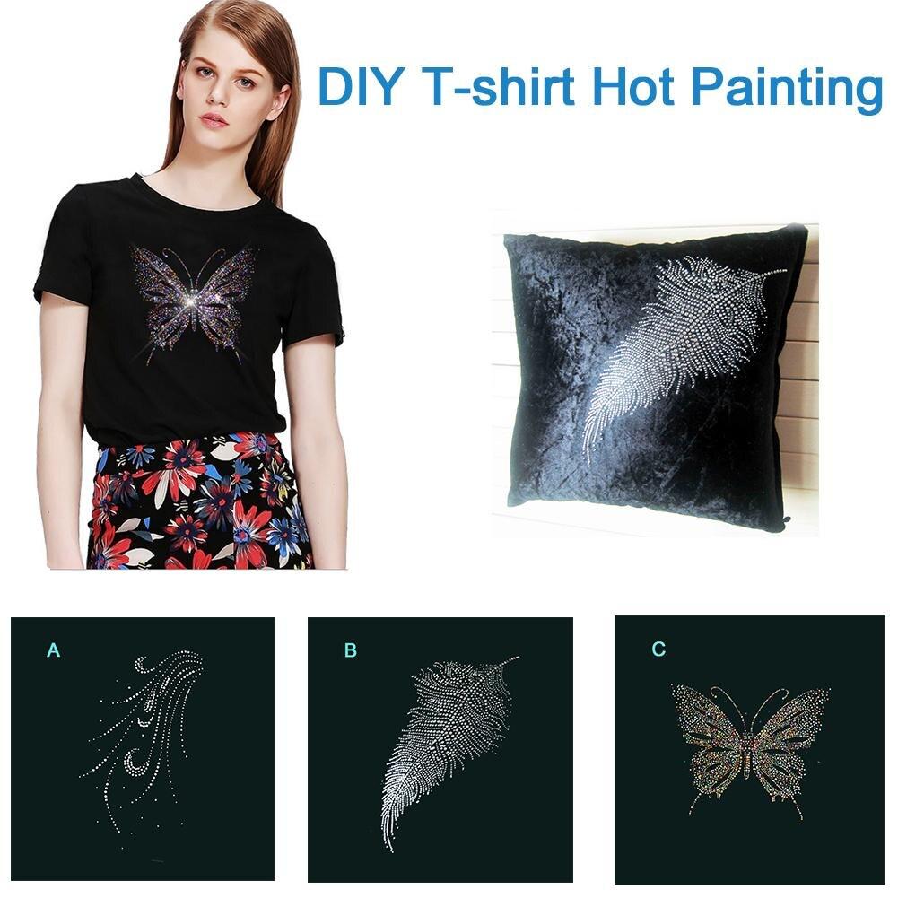 Ropa de bricolaje camiseta de transferencia de calor pirografo exquisito único Diamante de imitación dibujo pirográfico
