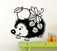 Affiche murale mignon petit herisson avec Fruits et feuilles  papier peint serie Animal  sparadrap pour chambre denfants  Art doux  Wm-123