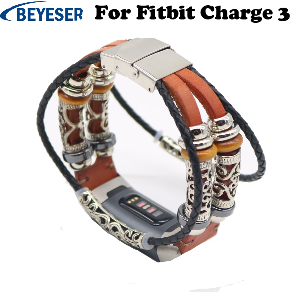 Personality Watch Strap for Fitbit Charge 3 Bracelet Leather Replacement Band Jewelry Smartwatch Accessories for Fitbit Charge3