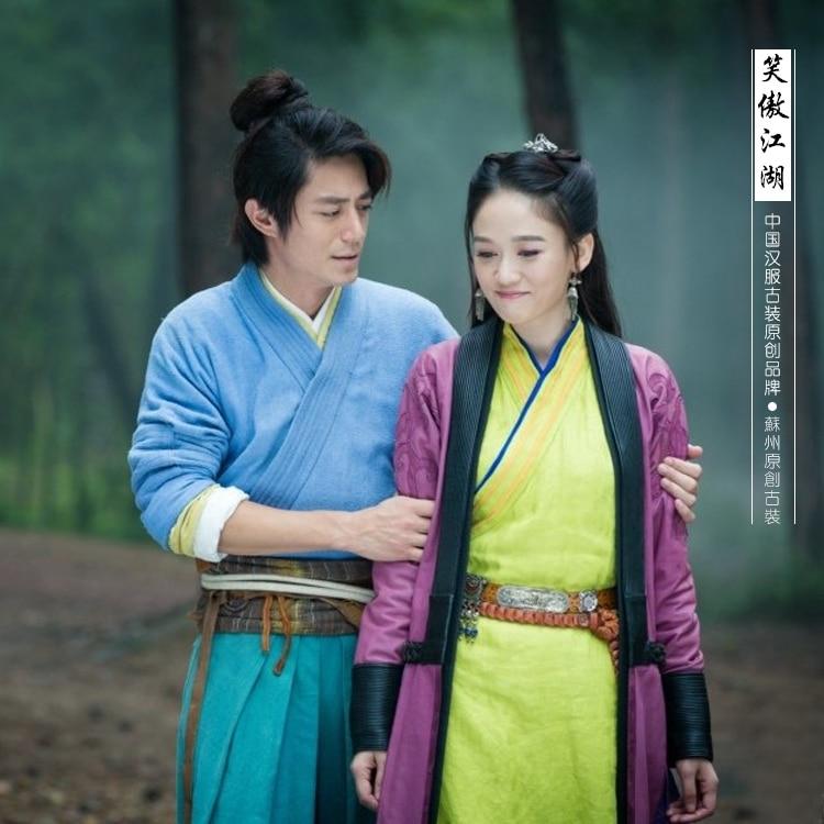 Chinese Tv Play Xiaoaojianghu De Lachende Trots Wanderer Liefhebbers Kostuum 2 Sets Mannelijke En Vrouwelijke Kostuum Kleding