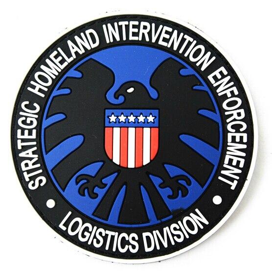 3 stücke Strategische Homeland Intervention Durchsetzung Und Logistik Abteilung Abzeichen S.H.I.E.L.D. Taktische PVC Patch Haken Armband Blau