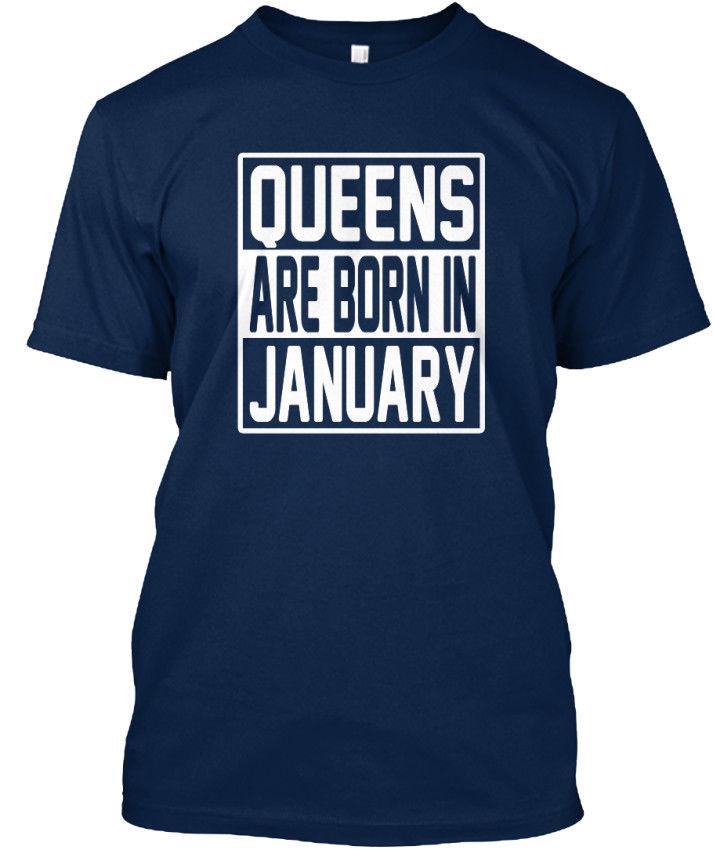 2019 nueva talla grande hombre Homme verano manga corta reinas nacen en enero-Camiseta Unisex estándar tu propia camiseta