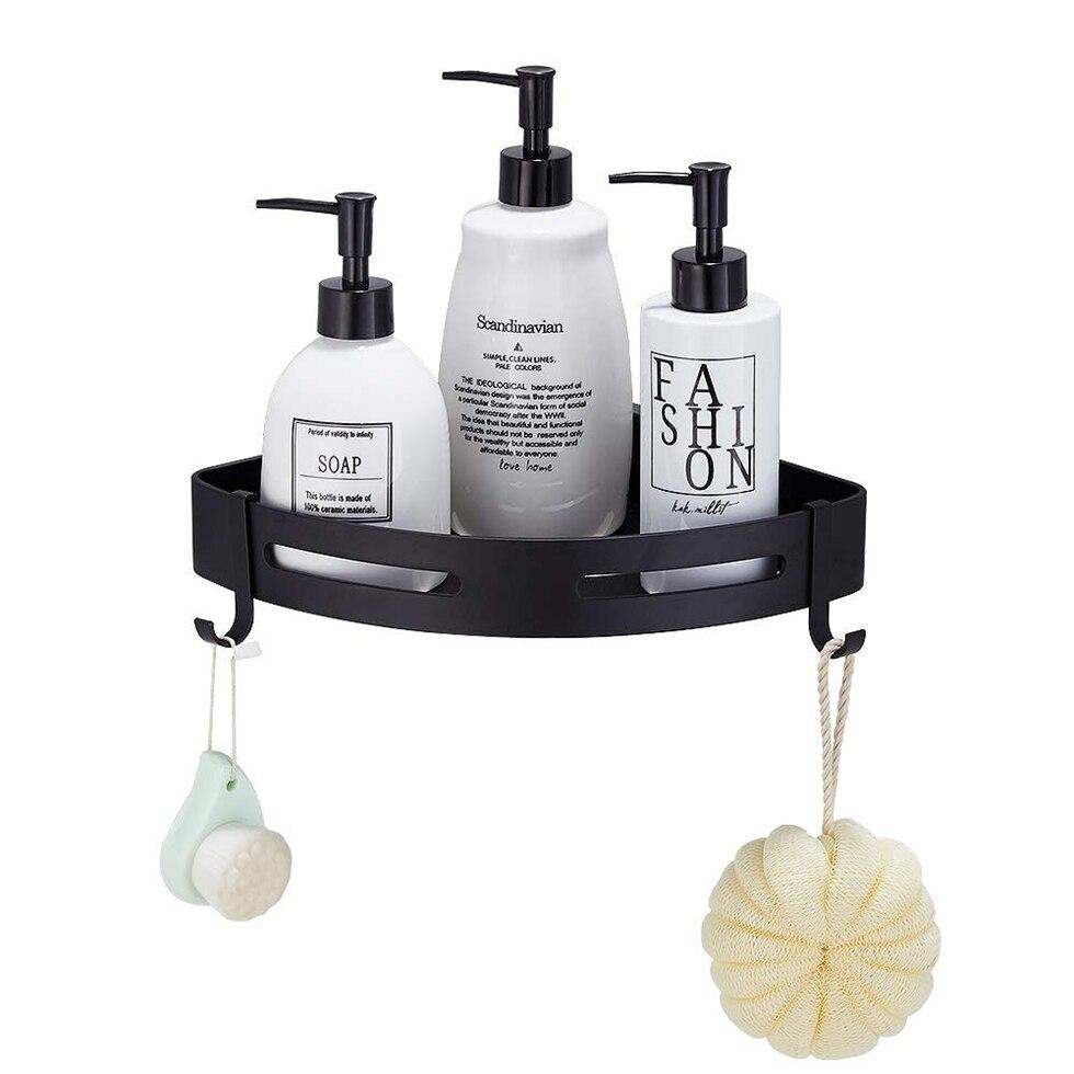 Black Bathroom Shower Shelf Triangle Wall Shower Caddy Space Aluminum Self Adhesive No Damage Wall Mounted etagere bain murale