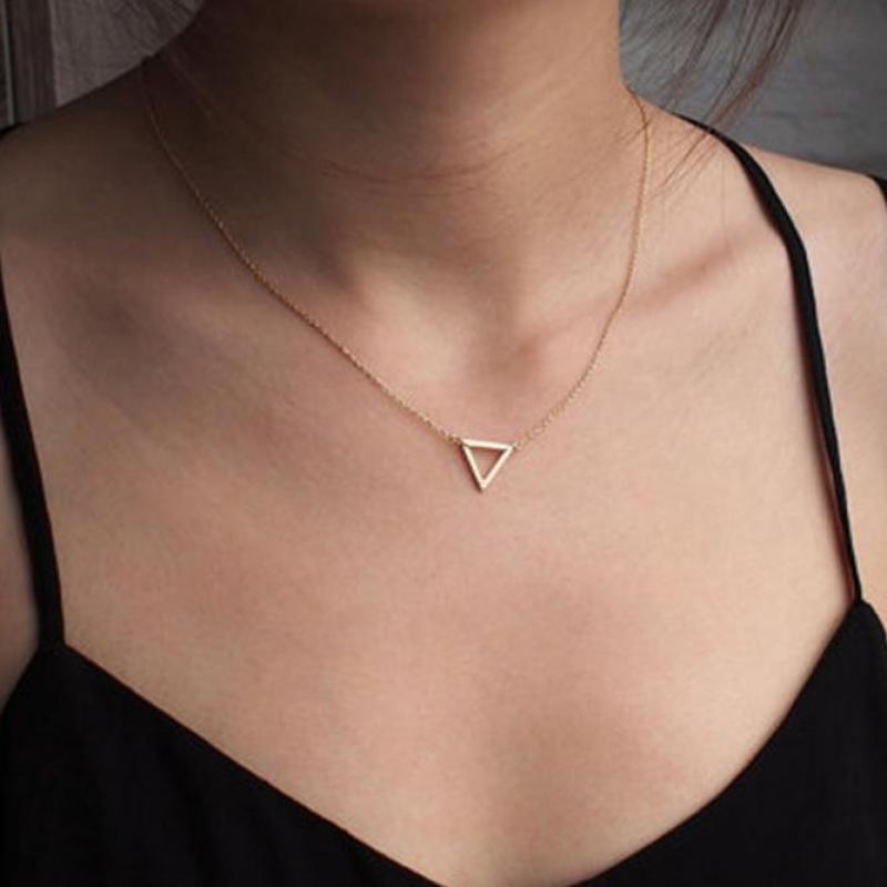 Utrend Geométrica Triângulo Simples Cadeia Colar de Jóias Vintage Para Mulheres Bijoux Curto Gargantilha Colares de Jóias Das Senhoras