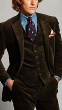 Neueste Mantel Hose Designs Braun Samt Männer Anzug Cord Formal Slim Fit Business Smoking Prom Stil Blazer Tailor 3 Stück terno
