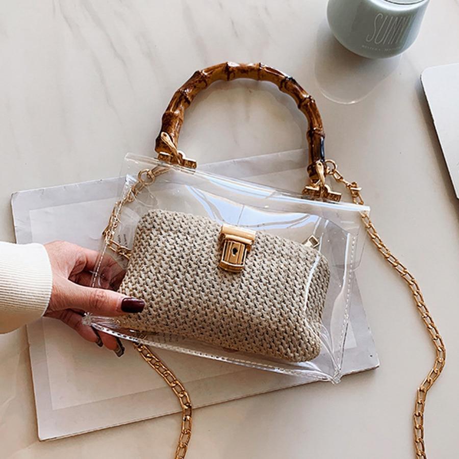 Casual Clear Bamboo Handle Handbags Women Chains PVC Jelly Bags for Women Transparent Messenger Bag Ladies Beach Bag Bohemia INS