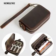 SIMLINE porte-clés en cuir véritable pour hommes Vintage Double fermeture éclair voiture porte-clés porte-monnaie organisateur de sac femme de ménage